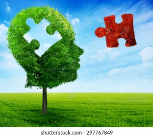 Puzzle head brain mental health symbol concept. Tree in a shape of human head face profile with jigsaw piece cut out on blue sky background.