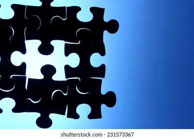 Puzzle with a missing piece Photo of a puzzle with one missing piece