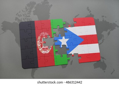 puzzle with the national flag of afghanistan and puerto rico on a world map background. 3D illustration