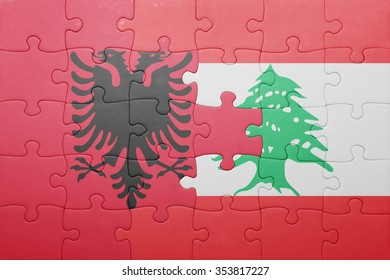 puzzle with the national flag of albania and lebanon . concept