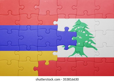 puzzle with the national flag of armenia and lebanon . concept