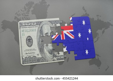 puzzle with the national flag of australia and dollar banknote on a world map background. 3D illustration
