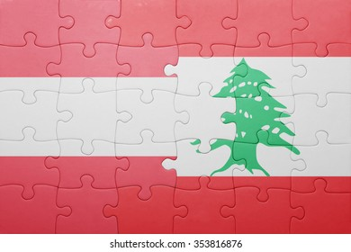 puzzle with the national flag of austria and lebanon . concept