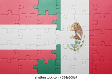 puzzle with the national flag of austria and mexico . concept