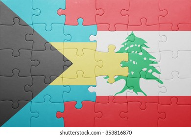 puzzle with the national flag of bahamas and lebanon . concept