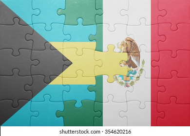 puzzle with the national flag of bahamas and mexico . concept