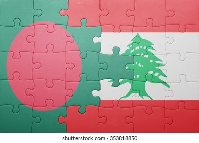 puzzle with the national flag of bangladesh and lebanon . concept
