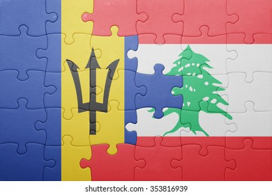 puzzle with the national flag of barbados and lebanon . concept