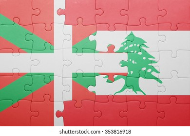 puzzle with the national flag of basque country and lebanon . concept