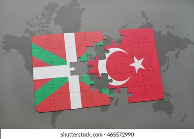 puzzle with the national flag of basque country and turkey on a world map background. 3D illustration