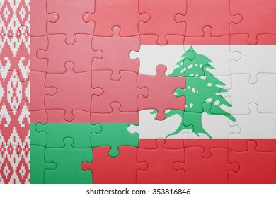 puzzle with the national flag of belarus and lebanon . concept
