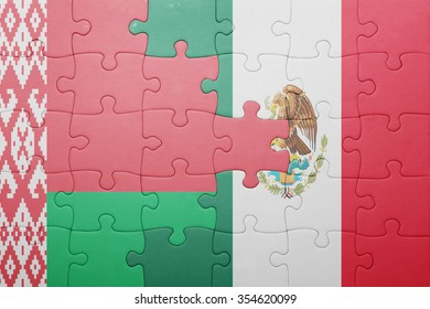 puzzle with the national flag of belarus and mexico . concept