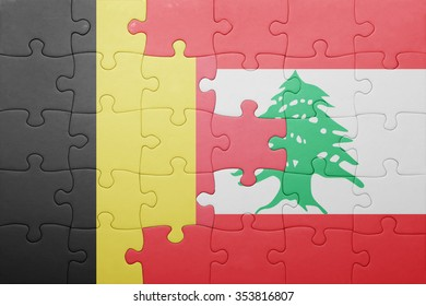 puzzle with the national flag of belgium and lebanon . concept