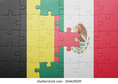 puzzle with the national flag of belgium and mexico . concept
