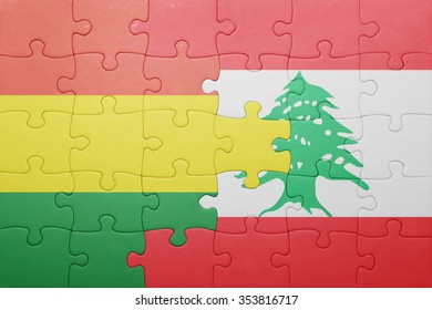 puzzle with the national flag of bolivia and lebanon . concept