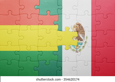 puzzle with the national flag of bolivia and mexico . concept