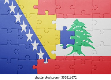 puzzle with the national flag of bosnia and herzegovina and lebanon . concept