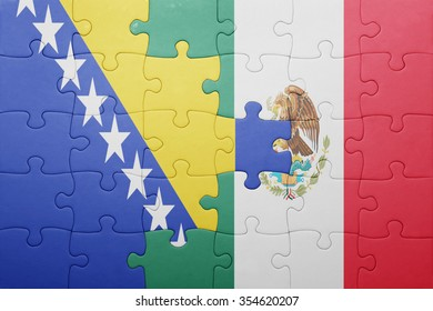 puzzle with the national flag of bosnia and herzegovina and mexico . concept