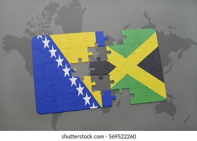 puzzle with the national flag of bosnia and herzegovina and jamaica on a world map background. 3D illustration
