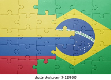 puzzle with the national flag of brazil and colombia .concept