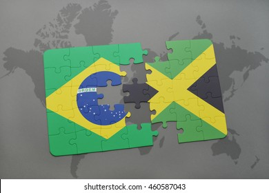 puzzle with the national flag of brazil and jamaica on a world map background. 3D illustration