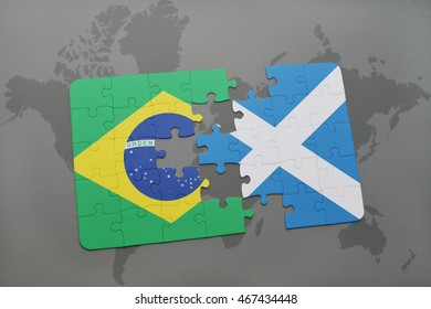 puzzle with the national flag of brazil and scotland on a world map background. 3D illustration