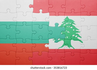 puzzle with the national flag of bulgaria and lebanon . concept