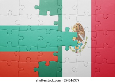 puzzle with the national flag of bulgaria and mexico . concept
