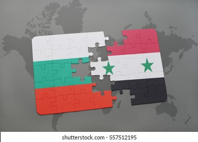 puzzle with the national flag of bulgaria and syria on a world map background. 3D illustration