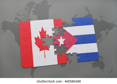 Cuba canada relations images stock photos vectors shutterstock puzzle with the national flag of canada and cuba on a world map background 3d gumiabroncs Image collections