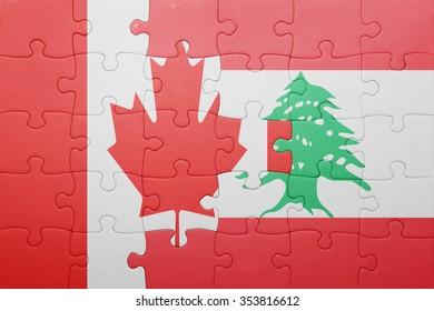 puzzle with the national flag of canada and lebanon . concept