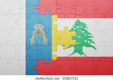 puzzle with the national flag of canary islands and lebanon . concept