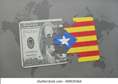 puzzle with the national flag of catalonia and dollar banknote on a world map background. 3D illustration