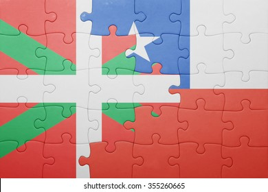 puzzle with the national flag of chile and basque country . concept