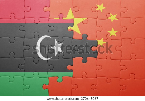 puzzle with the national flag of china and libya . concept