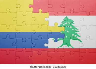puzzle with the national flag of colombia and lebanon . concept