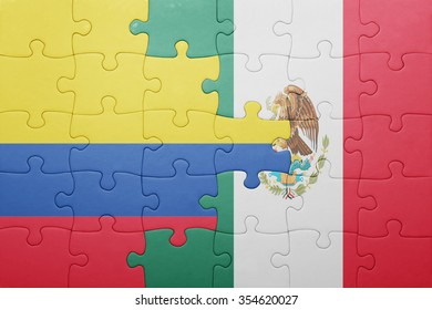 puzzle with the national flag of colombia and mexico . concept