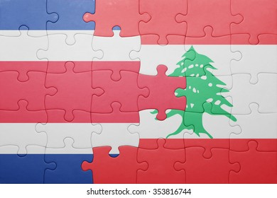 puzzle with the national flag of costa rica and lebanon . concept