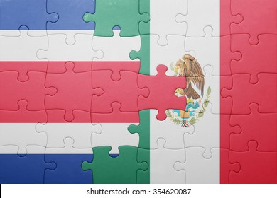 puzzle with the national flag of costa rica and mexico . concept