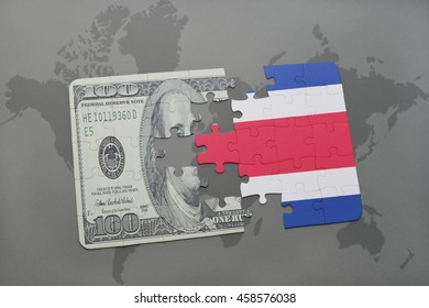 puzzle with the national flag of costa rica and dollar banknote on a world map background. 3D illustration