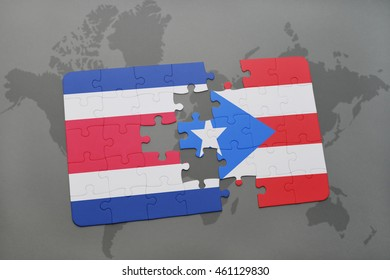 puzzle with the national flag of costa rica and puerto rico on a world map background. 3D illustration
