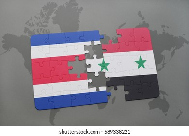 puzzle with the national flag of costa rica and syria on a world map background. 3D illustration