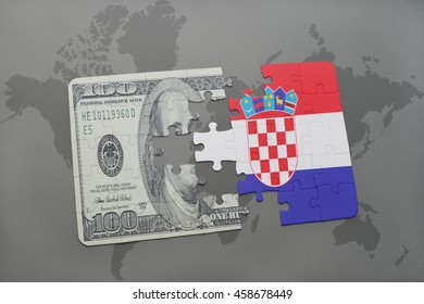 puzzle with the national flag of croatia and dollar banknote on a world map background. 3D illustration