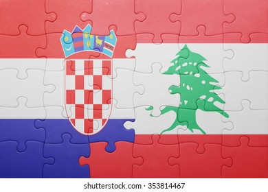 puzzle with the national flag of croatia and lebanon . concept