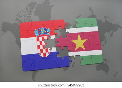 puzzle with the national flag of croatia and suriname on a world map background. 3D illustration