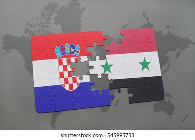 puzzle with the national flag of croatia and syria on a world map background. 3D illustration