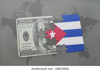 puzzle with the national flag of cuba and dollar banknote on a world map background. 3D illustration