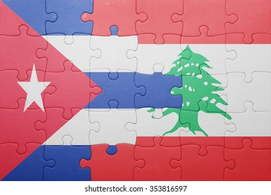 puzzle with the national flag of cuba and lebanon . concept