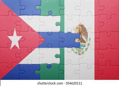 puzzle with the national flag of cuba and mexico . concept