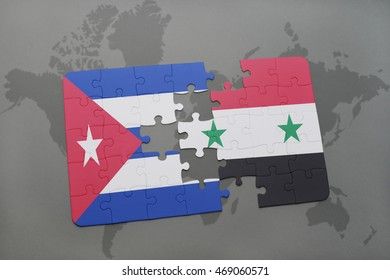 puzzle with the national flag of cuba and syria on a world map background. 3D illustration